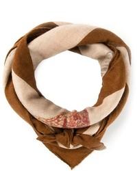 Bufanda de seda estampada marrón de Hermes