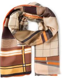 Bufanda de seda estampada marrón de Pierre Louis Mascia