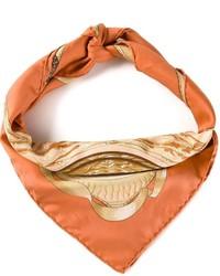 Bufanda de seda estampada naranja de Hermes