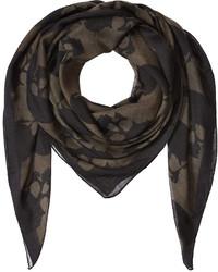 Bufanda de seda estampada negra