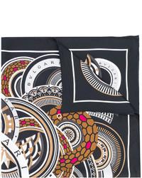 Bufanda de seda estampada negra de Bulgari