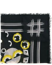 Bufanda de Seda Estampada Negra de Fendi