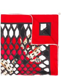 Bufanda de Seda Estampada Roja de Bulgari