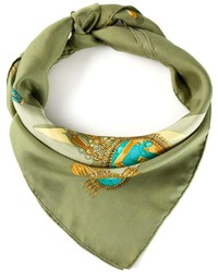 Bufanda de Seda Estampada Verde Oliva de Hermes