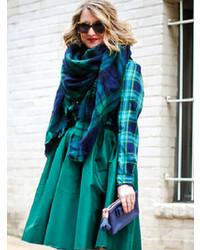 Bufanda de tartán en azul marino y verde