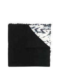 Bufanda efecto teñido anudado en negro y blanco de Suzusan