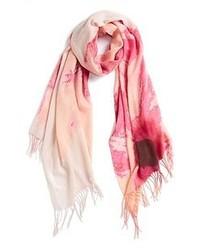 Bufanda en blanco y rosa