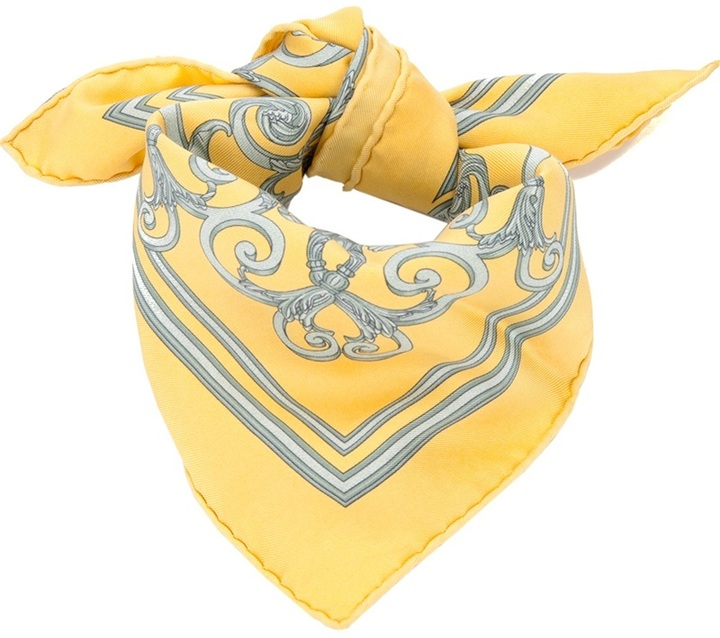 Bufanda estampada amarilla de Hermes