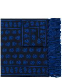 Bufanda estampada azul marino de Alexander McQueen