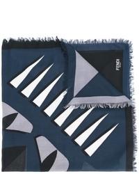 Bufanda estampada azul marino de Fendi