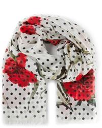 Bufanda estampada en blanco y rojo