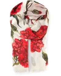 Bufanda estampada en blanco y rojo de Dolce & Gabbana