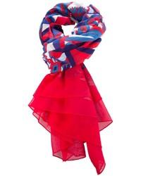 Bufanda estampada en blanco y rojo de Hermes