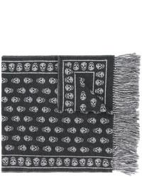 Bufanda estampada en gris oscuro de Alexander McQueen