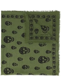Bufanda Estampada Verde Oliva de Alexander McQueen
