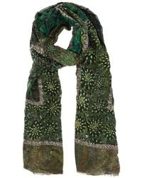 Bufanda estampada verde oscuro de Faliero Sarti