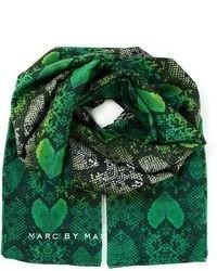 Bufanda estampada verde oscuro de Marc by Marc Jacobs