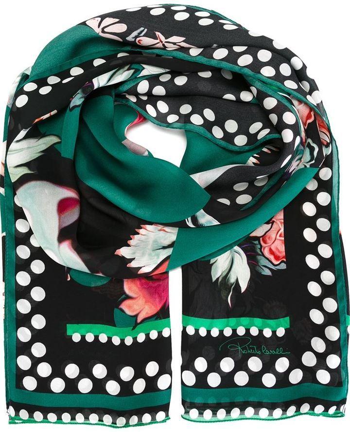 Bufanda estampada verde oscuro de Roberto Cavalli