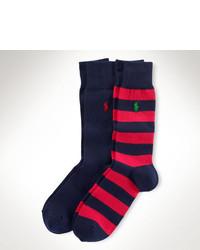 Calcetines de rayas horizontales en rojo y azul marino