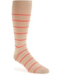 Calcetines de rayas horizontales marrón claro