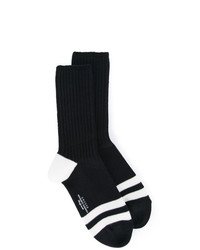 Calcetines de rayas horizontales negros de Unused