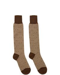 Calcetines estampados marrónes