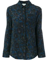 Camisa con print de flores azul marino de Kenzo