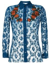 Camisa de encaje bordada azul marino de Gucci