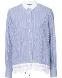 Camisa de encaje de rayas verticales celeste de Sacai