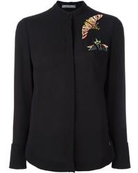 Camisa de lentejuelas bordada negra de Alexander McQueen