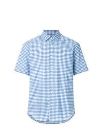 Camisa de Manga Corta a Cuadros Celeste de Cerruti 1881