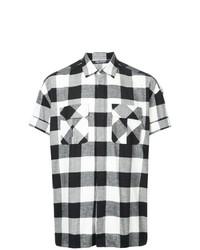 Camisa de manga corta a cuadros en negro y blanco de Neil Barrett