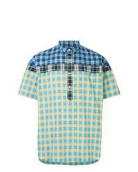 Camisa de manga corta a cuadros en turquesa de Kolor