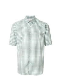 Camisa de manga corta a cuadros en verde menta de Cerruti 1881