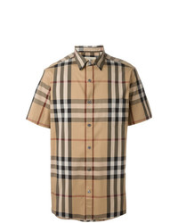 Camisa de manga corta a cuadros marrón claro de Burberry