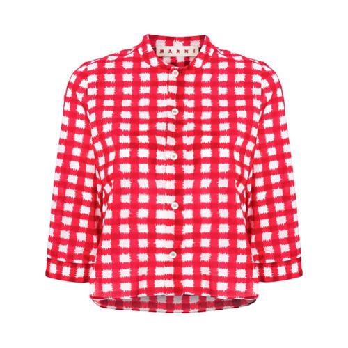 Camisa de manga corta a cuadros roja de Marni