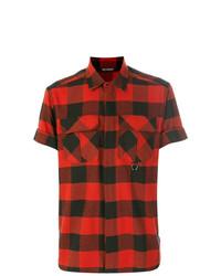 Camisa de manga corta a cuadros roja de Neil Barrett