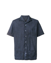 Camisa de manga corta azul marino de Massimo Alba
