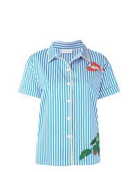 Camisa de manga corta bordada celeste de Mira Mikati