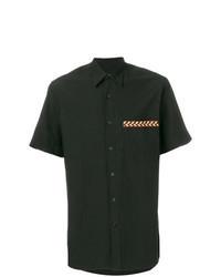 Camisa de manga corta bordada negra