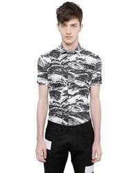 Camisa de Manga Corta con estampado geométrico en Blanco y Negro