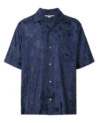 Camisa de manga corta con print de flores azul marino de Stella McCartney