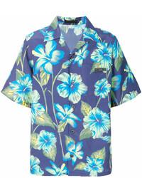 Camisa de manga corta con print de flores azul