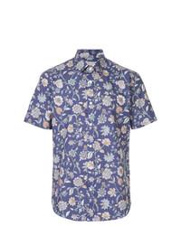 Camisa de manga corta con print de flores azul de Gieves & Hawkes