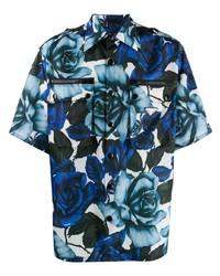 Camisa de manga corta con print de flores azul de Prada