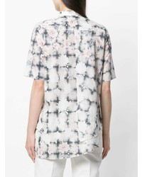 Camisa de manga corta con print de flores blanca de MM6 MAISON MARGIELA