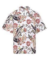Camisa de manga corta con print de flores blanca de Prada