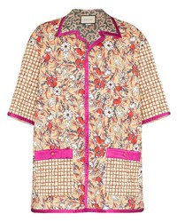 Camisa de manga corta con print de flores en multicolor de Gucci