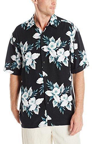 7dff8b4b20c7b ... Camisa de manga corta con print de flores negra de Cubavera ...