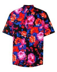 Camisa de manga corta con print de flores negra de MSGM